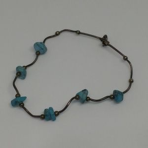 Liquid Silver Turquoise Howlite Sterling Bracelet